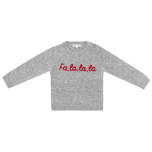 Baby & Taylor Cashmere Sweater in Speckled Grey with Red Embroidery