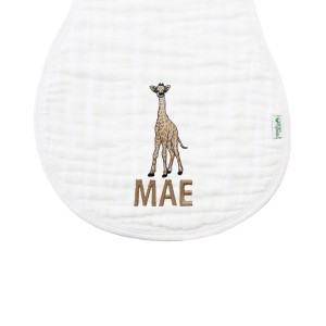 The Tot White Organic Burp Cloth with Personalized Monogram Embroidery with Giraffe
