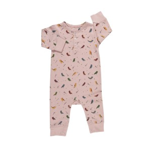 Red Caribou Long Sleeve Jumpsuit in Alpine Birds pink