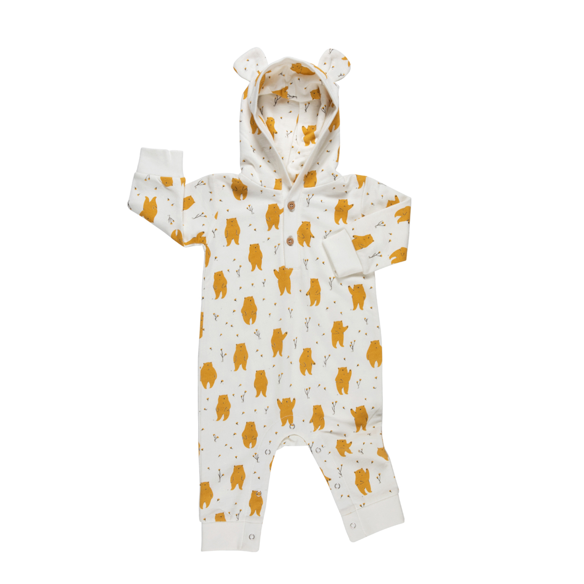 Red Caribou Long Sleeve Hooded Jumpsuit in Tundra Bear