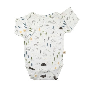 Red Caribou Organic Long Sleeve Onesie in The Expedition White