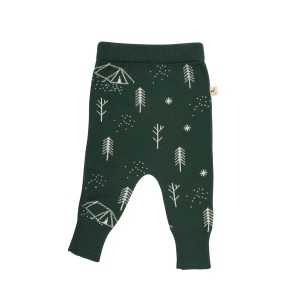 Red Caribou Knitted Pants in Forest Green