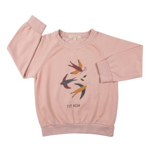 Red Caribou Cotton Sweatshirt in Fly High Pale Pink