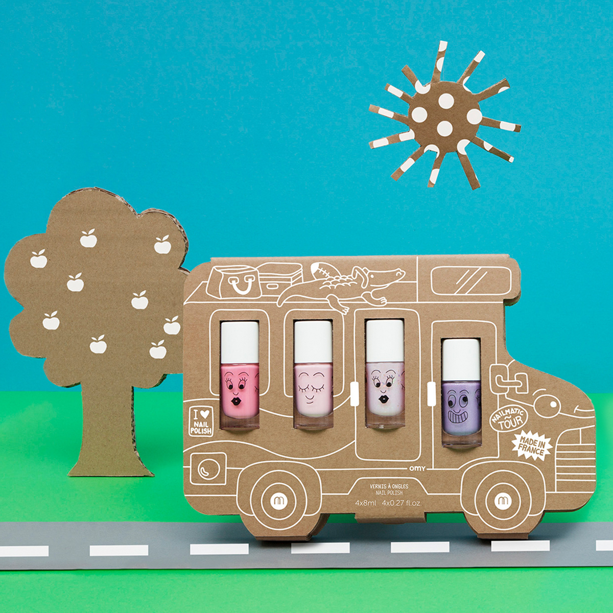 Nailmatic Water-Based Nail Polish Set of 4 in Van Story on road scene
