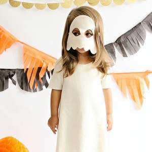 Opposite Of Far Felt White Ghost Mask on girl