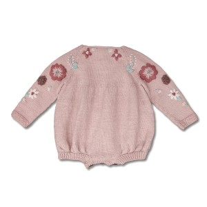 Shirley Bredal Flora Romper in Dusty Pink on baby girl