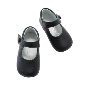 ChildrenChic Baby Mary Jane Leather shoes in Black