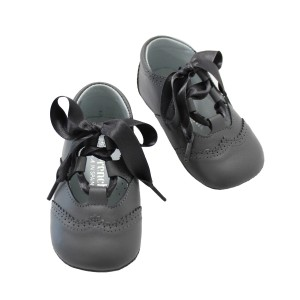 ChildrenChic Baby Leather Oxford Shoes in Grey