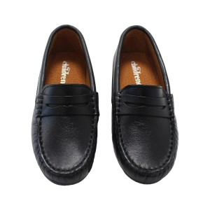 ChildrenChic Classic Leather Moccasin Shoe in Black