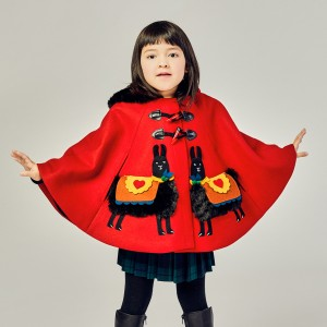 Little Goodall Red Llama Wool Cape on girl