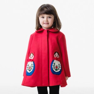 Little Goodall Red Matyroshka Wool Coat on girl