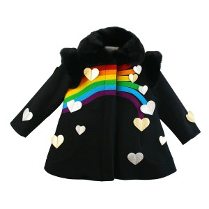 Little Goodall Black Queen of Hearts Wool Coat
