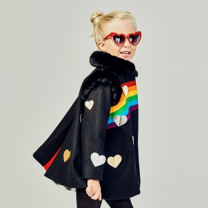 Little Goodall Black Queen of Hearts Wool Coat on girl