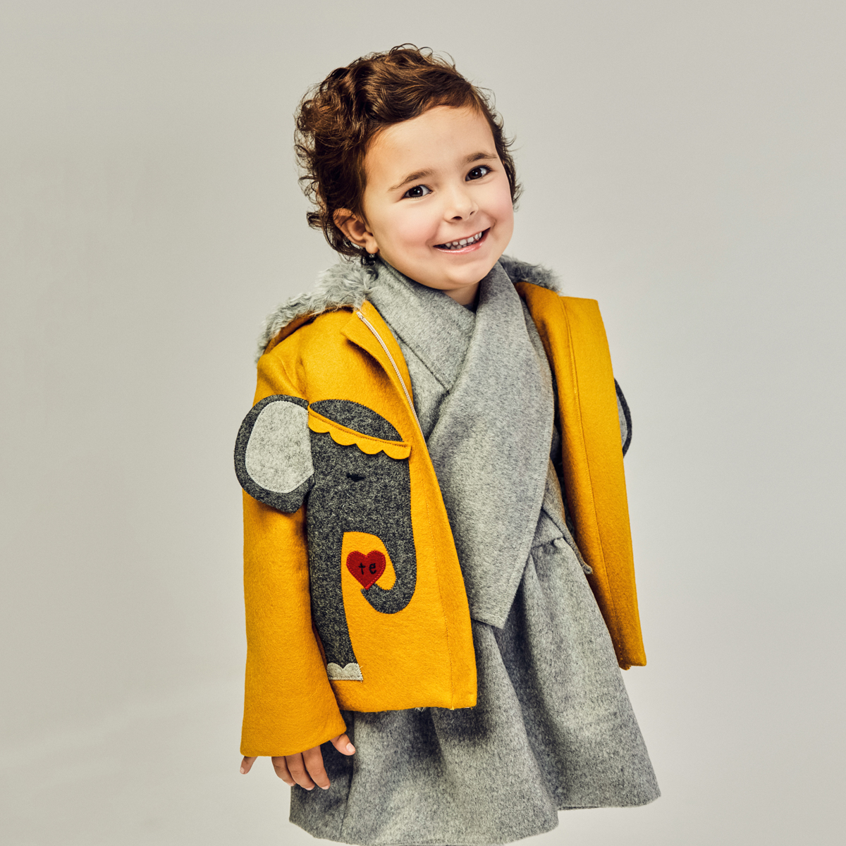 Little Goodall Yellow Te Amo Elephants Hooded Wool Coat on girl