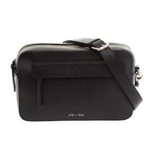 Jem & Bea Leather Crossbody Diaper Bag in Black