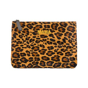 Jem & Bea Leather Clutch in Leopard print calf hair