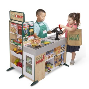 Melissa & Doug Wooden Fresh Mart Grocery Store Play Set with kids