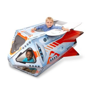 Melissa & Doug Cardboard Rocket Ship Indoor Playhouse with kids