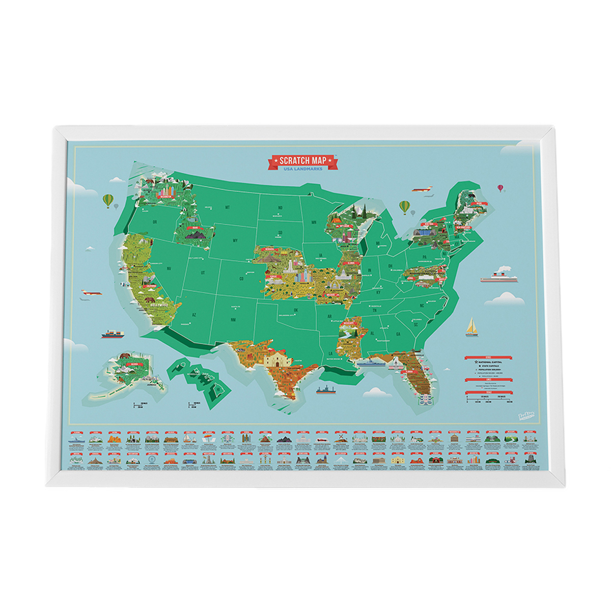 Luckies of London Scratch Map in USA Landmarks