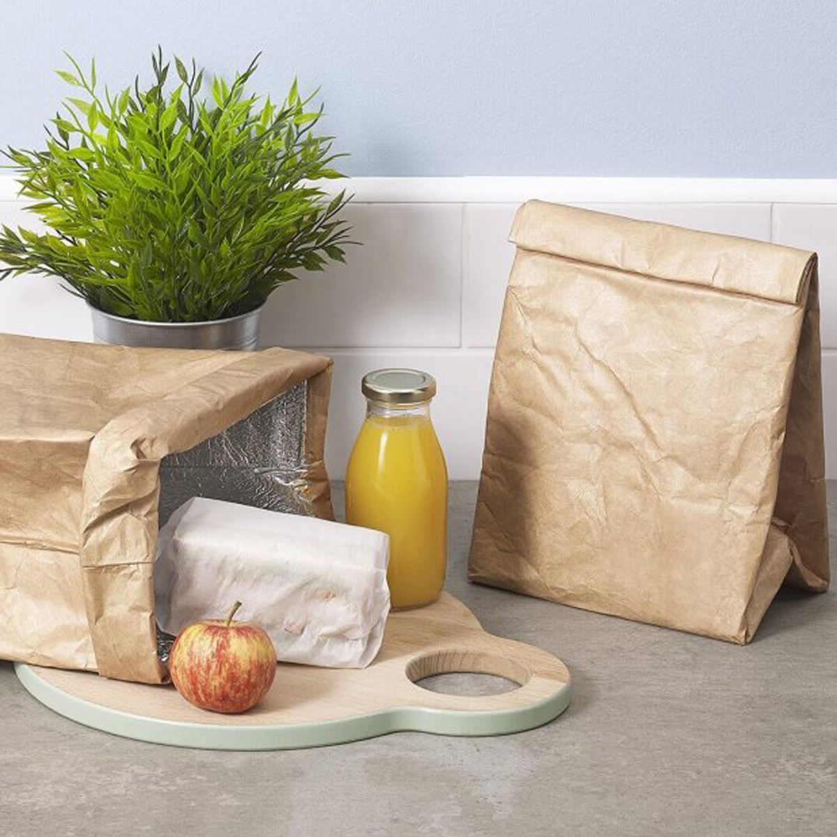 Luckies of London Reusable Brown Paper Bag with food