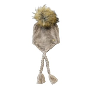Bobble Babies Single Pom Pom Knit Hat in Beige