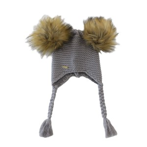 Bobble Babies Double Pom Pom Knit Hat in Grey