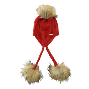 Bobble Babies Triple Pom Pom Knit Hat in Red