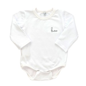 "Early Riser Long Sleeve Onesie in White with Black ""Boo"" embroidery"