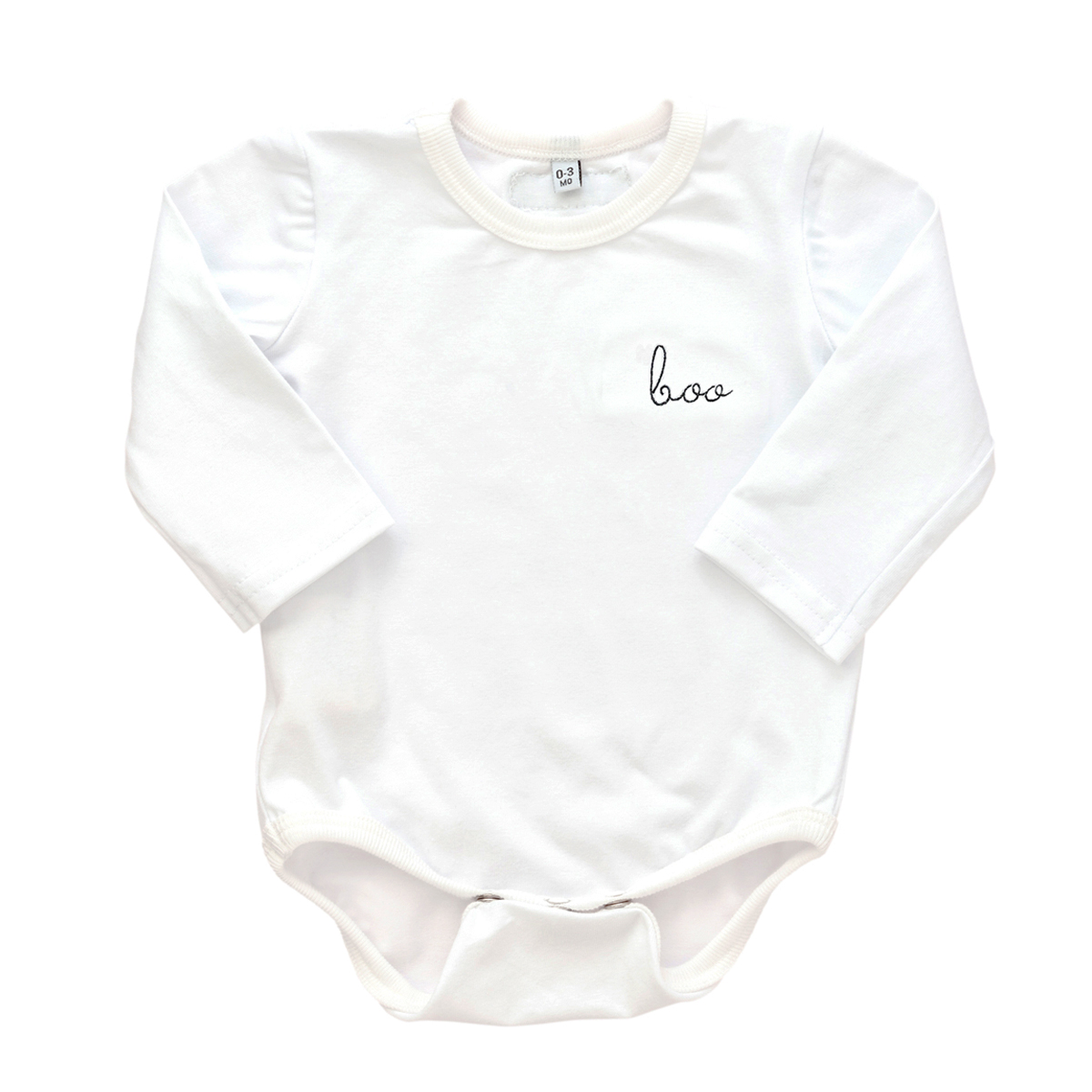 """Early Riser Long Sleeve Onesie in White with Black """"Boo"""" embroidery"""