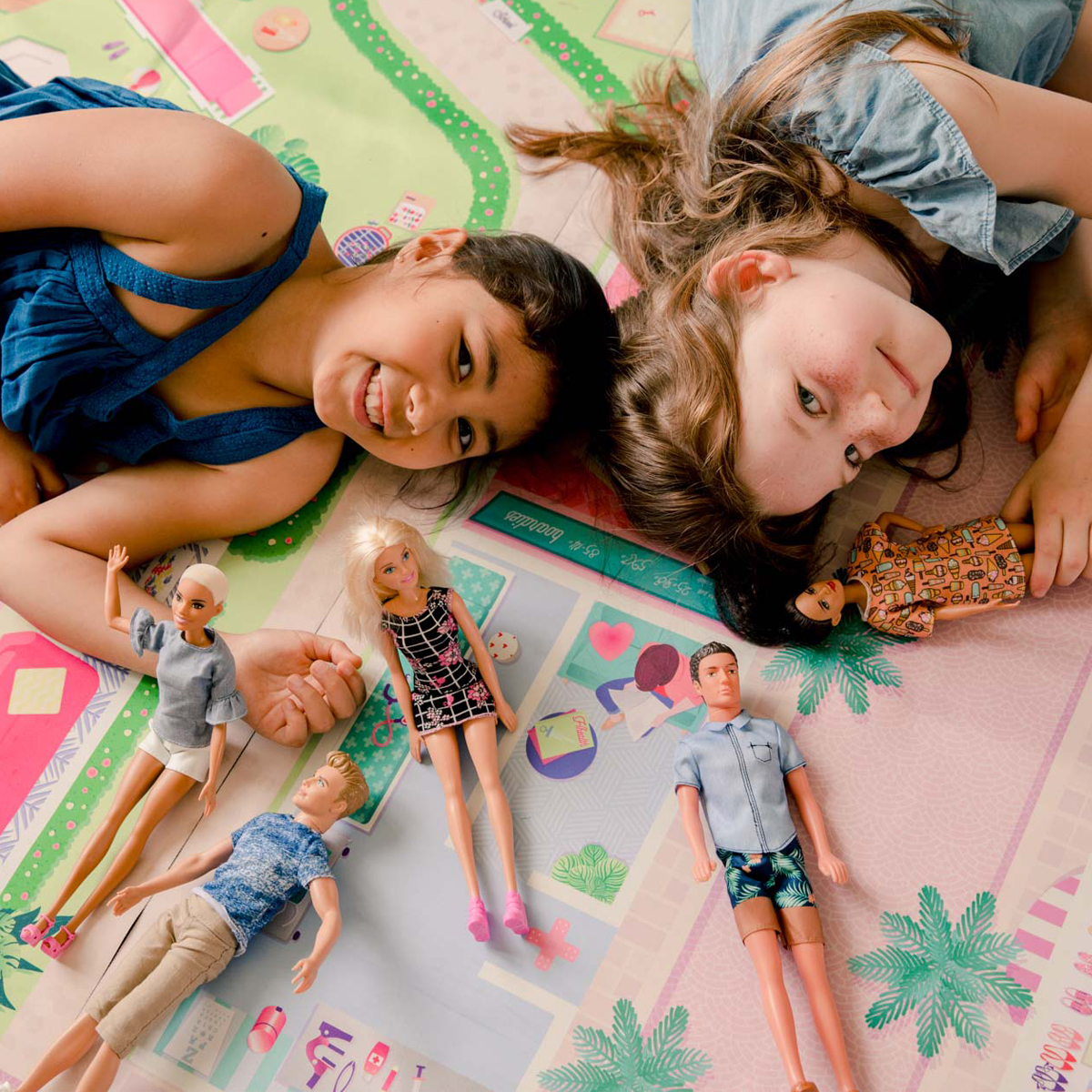 Boardies Natural Rubber Printed Play Mat in Dollhouse with girls