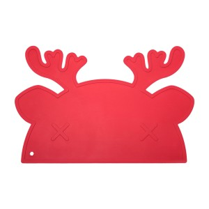 BamBamBoom Silicone Reindeer Chief Placemat in Red