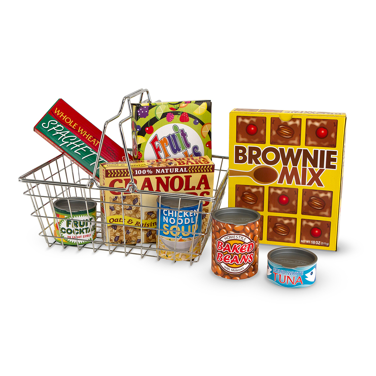 Melissa & Doug Metal Grocery Basket Toy with groceries