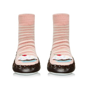 Moccis Yum Yum Moccasin Sock in Pink Stripe Cupcake