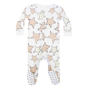 Hart & Land Organic Long Sleeve Footie in White with Large Star Print in Sepia Rose