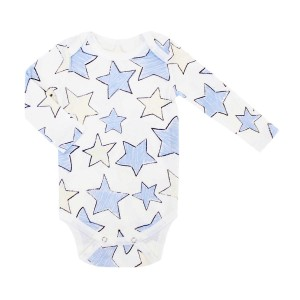 Hart & Land Organic Long Sleeve Bodysuit in White with Large Star Print in Zen Blue