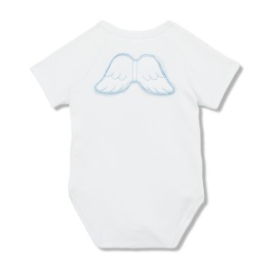 Marie Chantal Short Sleeve Angel Wing Onesie in White with Blue
