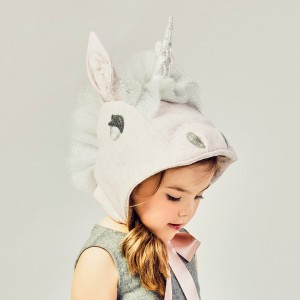 Little Goodall Felt Unicorn Head Shaped Hat on girl