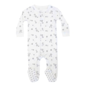 Hart & Land Organic Long Sleeve Footie in White with Galaxy Stars Print in Micro Chip Grey