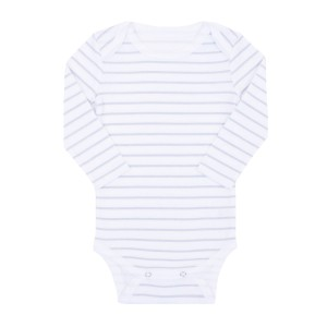 Hart & Land Lap Shoulder Long Sleeve Bodysuit in White with Micro Chip Grey Stripes
