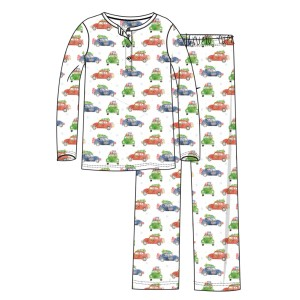 Hart + Land Organic Cotton Pajama Set in white with Holiday Car print
