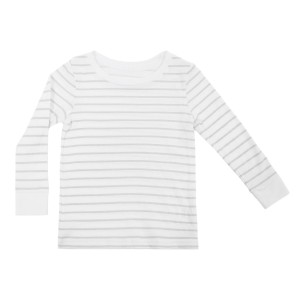 Hart & Land Organic Cotton Long Sleeve Crew Neck T-Shirt in White with Micro Chip Grey Stripes