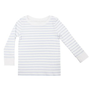 Hart & Land Organic Cotton Long Sleeve Crew Neck T-Shirt in White with Zen Blue Stripes