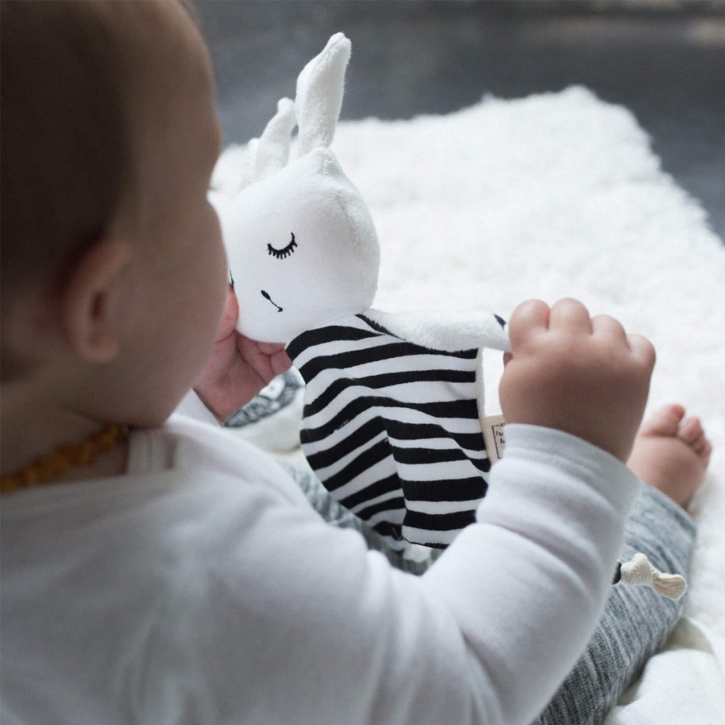 Wee Gallery Cuddle Bunny in Stripes with baby