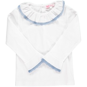 Amaia Chelsea Blouse in White with Blue