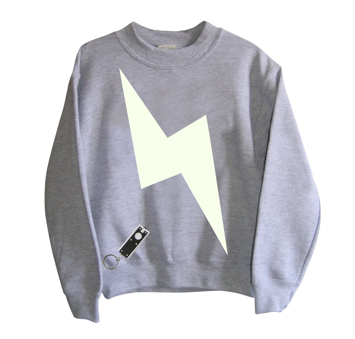 Little Mashers Tee Light Sweatshirt in Grey Lightning Bolt