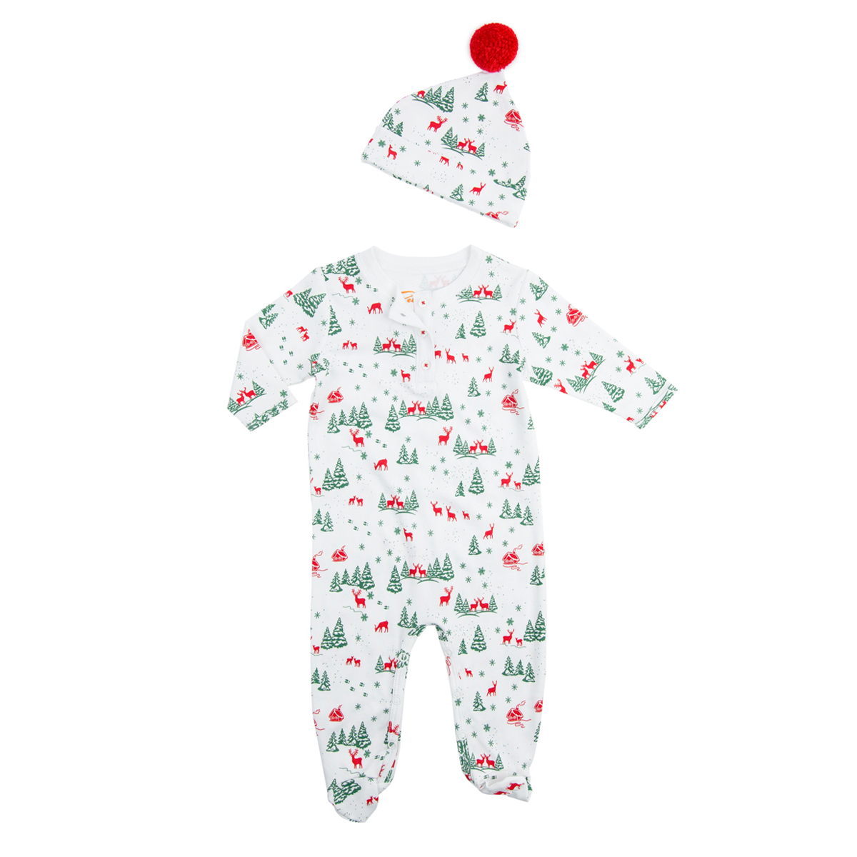Petidoux Pima Cotton Footed Onesie & Hat set in white with red reindeer