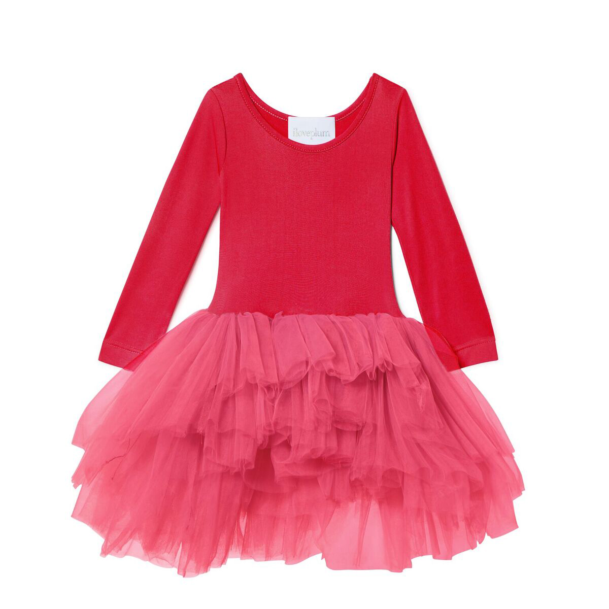 ILovePlum Long Sleeve Tutu Dress in Camilla Red