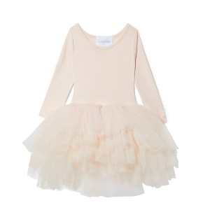 ILovePlum Long Sleeve Tutu Dress in Pippa Pale Peach