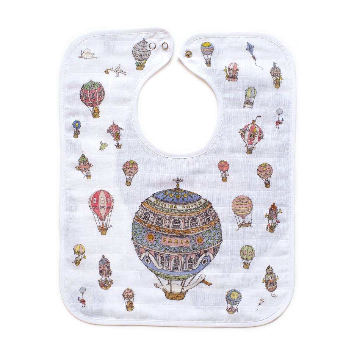 Atelier Choux Large Bib in Hot Air Balloons print