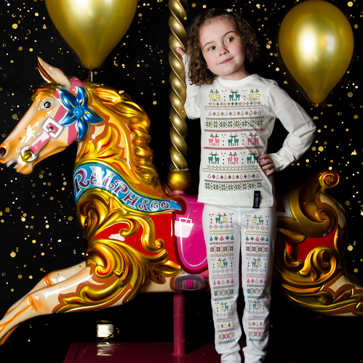 Selfie Clothing Co Color-In Pajamas in Fair Isle on girl